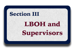 Section III: LBOH and Supervisors